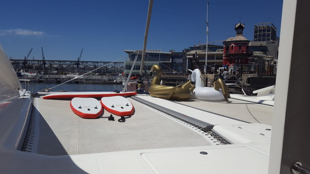 Mirage docked at V&A plus our toys for the day
