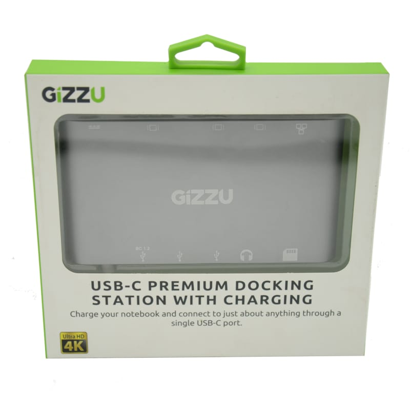 GIZZU USB-C USB3.0/Mini DP/HDMI/VGA/GBE/M SD Dock White