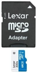 Lexar 64GB microSDHC with Adapter Class 10