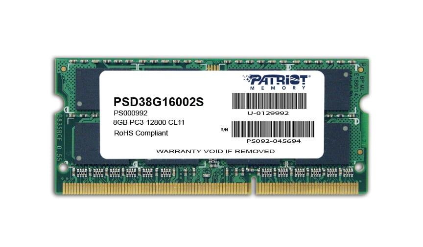 Patriot SL 8GB 1600MHz DDR3 SO-Dimm DS Memory